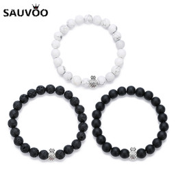 браслеты брелоки ананасы Скидка Sauvoo Black Lava Stone Crystal  Bracelets Bangles Natural Stones Pineapple Charms Bracelet for Men Women Couple Jewelry