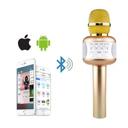 Wholesale home karaoke player - SOVO Karaoke Microphone Wireless Bluetooth Speaker Handheld Music Player KTV Singing Support IOS Android with Disco Lights