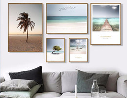 2019 foto pintura lienzo Nordic Home Pintura Decorativa Pequeño fresco playa gran árbol paisaje Lienzo Pintura Photo For Living Room Poster 903 foto pintura lienzo baratos
