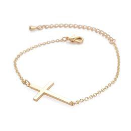 2019 bracelete do cristão da forma Moda de Prata / Corrente de Ouro Simples Cruz Pulseira Pulseira de Cobre Cristão Requintado jóias Pulseiras para mulheres homens presentes bracelete do cristão da forma barato
