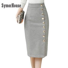 Wholesale Office Wear Xxl - 2017 Winter Black Gray Thick Wool Midi Pencil Skirts Size XXL Women Casual Slim High Waist Button Office Work Wear Skirts female
