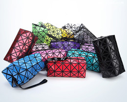 Wholesale Sequins Cosmetic Bag - New Arrived Geometry Cosmetic Sequins Folding Make up bag Superior Quality Multi Color Pattern Cute Color Organizer Toiletry bag