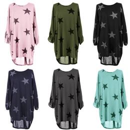 Wholesale Star Plus Dresses - Women Dress Summer Stars Printed Loose Dress Straight O-Neck Dress Cotton Short T Shirt Style Dresses For Female Plus Size