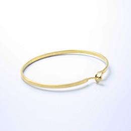 Encantos de pulseiras finas on-line-Venda quente da Cor do Ouro Europeu Charme Gancho Bangle Bracelet Thin Bangle Moda Jóias para Mulheres Homens