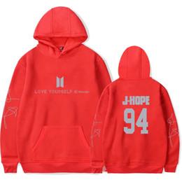 Wholesale L Idol - Hip Hop BTS Love Yourself K-pop New Album Wonder Bangtan Boy Sweatshirt Tracksuit Women Fans Hoodies Popular Idol Hoodie Clothes
