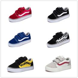 Skate de bebê on-line-Vans Old Skool low-top CLASSICS Clássico infantil shoes 2018 velho skool casual meninos meninas preto branco vermelho bebê crianças lona skate sneakers esporte 22-35