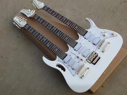 Commercio all'ingrosso 3 collo bianco JEM 7V triplo collo 6/6/12 corda bianca chitarra elettrica hardware oro con hardcase da