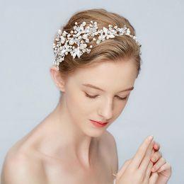 Wholesale wedding ribbon crystal headband - New Silver Leaf Headband Bridal Tiara Pearls Wedding Hair Crown Accessories Fashion Women Prom Hair Piece Handmade Jewelry