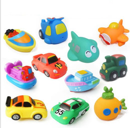 Wholesale pool car - Rubber Float Bath Toy Pool Baby Child Water Spray Colorful Train Car Boat Soft Rubber Toy Boy Girl Beach Bathroom Toy KKA5577