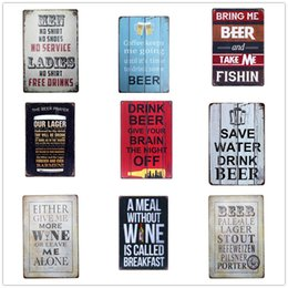Wholesale decorative wall plaques - Decorative Beer Bar Club Wall Iron Tin Sign Vintage Metal Plaque Words Wall Art Home Decor 20*30cm