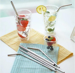 Wholesale Mug Packaging - For Mugs 304 Stainless Steel Bend Straight Drinking Straw With Cleaning Brush for 30oz 20 oz Tumbler Mugs Cups with Retail package