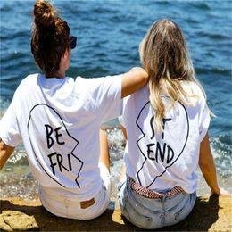 Ropa de calle online-Nuevo verano Mejores amigos camiseta Letra imprimible BE FRI ST END Camiseta mujer Moda manga corta Mujer Ropa Blanco Negro