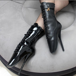 """Wholesale red dressers - Free Shipping Women Man 7"""" Spike High Heels BALLET Black lace up Mid-calf Boots SM Fetish Ballet Boot 18CM Cross-dresser faves"""