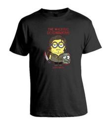 Миньоны фильмы онлайн-Гадкий Я зомби Ходячие мертвецы Миньоны фильм Черный новый футболка мужская 2018 модный бренд футболка О-образным вырезом 100% хлопок