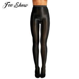 2019 многоцветные носки для туфель Женщины контроля Топ Ultra Sheer Shimmery Stretch 70D Толщина Full Footed Silk Stockings Oil Блестящие колготки с высокой талией