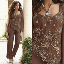 plus size mother bride beaded suits Coupons - Classy Beaded Mother Of The Bride Pant Suits With Jackets V Neck Wedding Guest Dress Sequined Plus Size Chiffon Mothers Groom Dresses