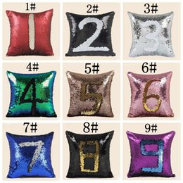 Wholesale magic pillow case - Creative magic double-sided embroidery DIY double sequin printed pillows sequins sofa car cushion cover number letter twig pillow case