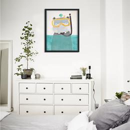 Wholesale Figure Wallpaper - Minimalist Nordic decorative painting Diving hippopotamus home decoration works wallpaper home decorative art wall