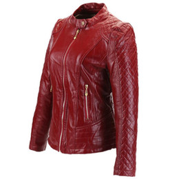 Wholesale Ladies Red Coats Sale - Factory direct sales plaid zipper pu leather jacket 2017 fashion ladies pu leather short paragraph locomotive coat wj359