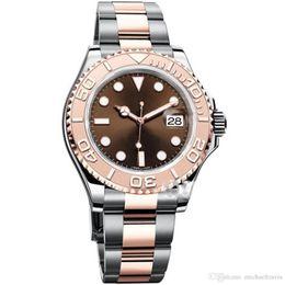 Orologi di moda online-2019 Mens Watch YACHT MASTER Fashion 40mm brown face Mens Watches 116655 Sports Men Movimento automatico da polso