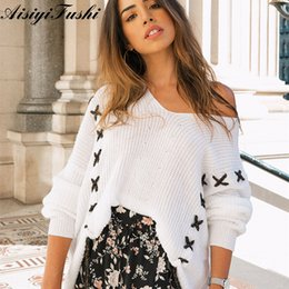 3f7541a22e Women s Sweaters White Knitted Lace Up Sweater Coarse Knitted Loose Jersey  Off Shoulder Winter Woman Sweater Knitting Pullovers