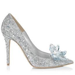 Wholesale Rhinestones Pump Shoes Flats - Cinderella Rhinestone High Heel Wedding Shoes For Women 2018 Pointed Toe Sparkling Beading Crystal Women Pumps Bridal Accessories Gowns
