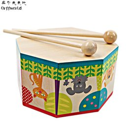 Wholesale Electronics World - Orff World Children Early Educational Cartoon Wooden Hand DrumToys Musical Beat Instrument Baby Infant Gift