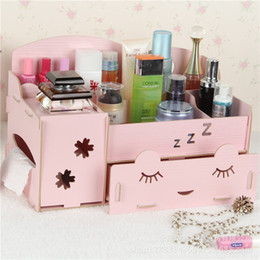 Wholesale Wood Desk Organizers - Stay Gold Korean Cute Creative Multifunctional Wooden Desk Box Cosmetics Dresser Organizer Makeup Organizer Storage Box