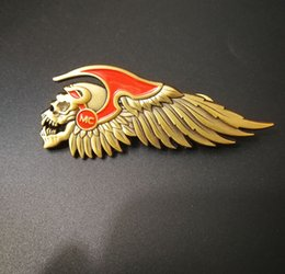 Wholesale Motorcycle Customs - Custom Newest high quality Skull biker Motro Pins Brooches badges for motorcycle Clothing Jacket Vest Hat Pin badges sticker brooches
