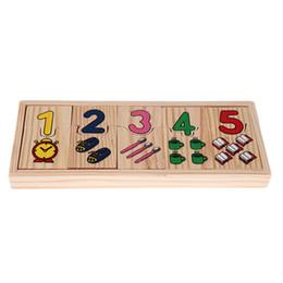 Apprentissage de l'école maternelle en Ligne-1 Set Ensemble En Bois Comptage Puzzle Jouet Bébé Éducation Préscolaire Mathématiques Modèle D'apprentissage Numéros Matching Puzzle Puzzle