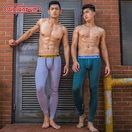 Wholesale Thin Striped Leggings - Free Shipping Men's Long Johns cotton Warm Pants Leggings Thin Thermal Underwear striped Long johns