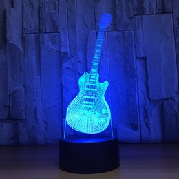 Wholesale Led Guitar Lights - 2018 Guitar 3D Optical Illusion Lamp Night Light DC 5V USB Charging AA Battery Wholesale Dropshipping Free Shipping