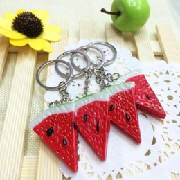 Wholesale Charms Carabiner - Watermelon Colorful Key Chain Chunk Pendant Jewelry Charm Key Ring Chunk Slice Key Ring FFA100 120PCS