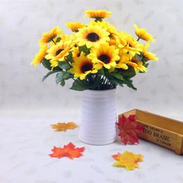 Wholesale plastic bouquet - 7 Head Sunflower Artificial Flower Fake Flores Bouquet Simulation Plastic Flowers Decorate Party Wedding Decoration