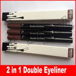 Liner eyeliner gel online-Liquid Eyeliner Waterproof eyeliner liquido eyeliner marrone e nero 2 in 1 eyeliner in gel