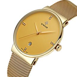 045bc5cfc9374 Top de Luxo Da Marca WWOOR dos homens Ultra Fino Relógios Homens Casuais  Malha De Ouro Banda Relógio de Quartzo Relógio de Pulso À Prova D  Água  Relogio ...