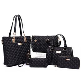 Bolsas multifuncionais on-line-Preto moda casual multifuncional grande capacidade de nylon macio tote ombro tote menina bolsas set 6 pcs