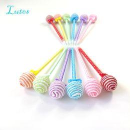 Nuevos años fuentes del partido online-36 Unids / lote Lollipop Recuerdos de la Pluma Fiesta de Cumpleaños favorece Decoraciones Suministro para Niños Baby Shower Regalo Lindo Navidad / Año Nuevo