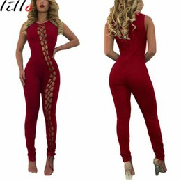 Wholesale Spot Tights - Explosive sexy tight strap 5 color sleeveless jumpsuit Spot model style black white red pink blue Features hollow women's