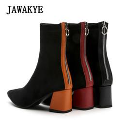 Botas de inverno laranja mulheres on-line-Nova pista ponto toe camurça ankle boots para mulheres robusto salto alto sapatos de volta zipper orange red salto grosso sapatos de inverno mulher