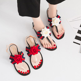 Wholesale Hot Lace Thong - HOT! Europe America Fashion women sandals Party with bowknot thong ribbon flowers flat Women sandals