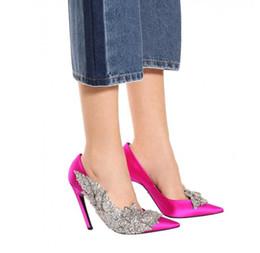 Wholesale Pointy Stilettos - Luxury Hand Sequined Beading Lady Elegant Satin Wedding Shoes Designer Fashion Pointy High Heel Dress Shoes
