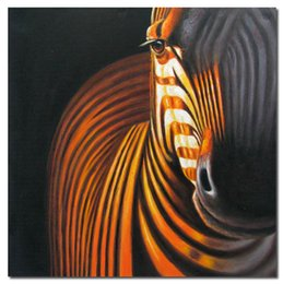 Zebra abstrata moderna on-line-Pintado à mão Abstrata Moderna Zebra Cavalos Animais pintura a óleo Da Lona Da Arte Da Parede Da Lona Reprodução Sala de estar Home Office Decor, Multi Tamanhos
