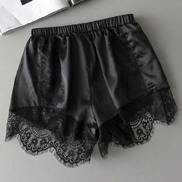 Wholesale Womens Black White Costumes - Plus Size Womens Sleep Bottoms Elastic Waist White Black Lace Shorts Casual Panties for Women Costume Faux Silk Summer Nightwear