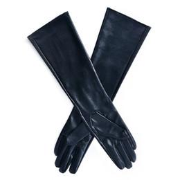 Argentina Guantes largos de invierno para mujer Guantes de dedo forrados en caliente Codo de cuero de imitación de señora supplier leather gloves long fingers Suministro