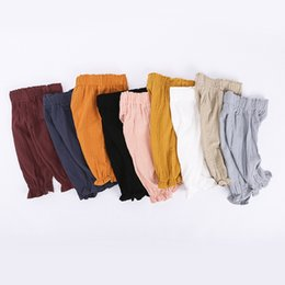 Wholesale kids boys sweatpants - Kids Baby Boy Girl Harem Pants Cotton Linen Baggy Trouser PP Leggings Sweatpants Sleepping Pants Baby Clothing Trousers