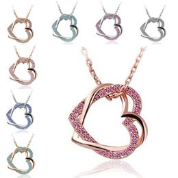 Wholesale Double Heart Gold Necklace - 2018 Double Crystal Heart Necklace Silver Gold Plated Chain Love Heart Pendant for Women Wedding Jewelry Gift 162081