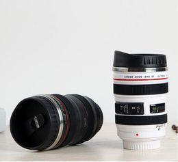 2019 caneca da lente branca 120 pcs New 5ª geração forro de aço inoxidável viajar café quente lente da câmera caneca 400 ML preto e branco 2 cores caneca da lente branca barato