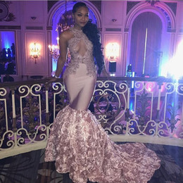 Wholesale Girls Pageant Dresses Size 16 - Sexy Black Girls 2018 Prom Dresses Mermaid Lace Formal Evening Gowns Sexy Hole Neckline 2K 17 3D Rose Ruffle Girls Pageant Dress