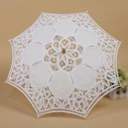 Wholesale Party Lace Parasol Umbrellas - 5Set Sale 1X Vintage White Cotton Handmade Parasol Lace Sun Umbrella Party Wedding Bridal